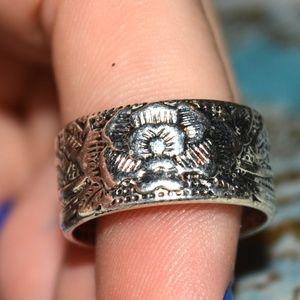 Jewelry - Buddhist Lotus Prayer Ring Silver Adjustable